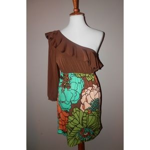 JUDITH MARCH Dress Large Brown Green One Shoulder